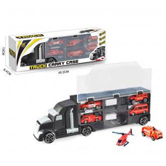 """Մեքենա """"Truck"""" տուփով, հավաքածու հրշեջի մեքենաներով"""