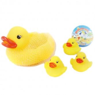 Ռետինե խաղ ճուտիկ փոքր ձագուկներով /4pcs soft plastic duck None Set