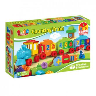 Խաղալիք գնացք լեգո 53կտոր, տուփով, ուսուցողական խորանարդիկով