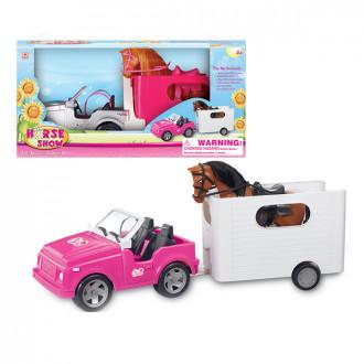Մեքենա հավաքածու կենդանինե տեղափոխող բեռնախցիկով + ձի