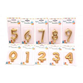 Մոմ թիվ 0-ից 9-ը ոսկեգույն