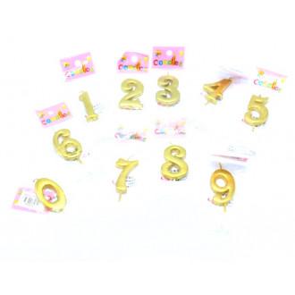 Ծննդյան մոմ տարեթիվ 0-ից 9-ը ոսկեգույն փոքր