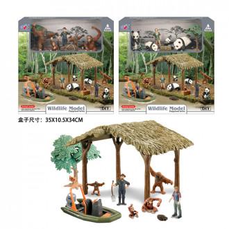 Կենդանիների հավաքածու + խրճիթ տնակ մեքենայով, 2ձև