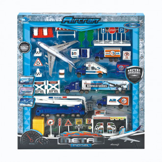 Մետաղյա մեքենաների  հավաքածու ինքնաթիռով, օդանավակայան