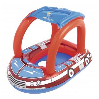 Փչովի ներքնակ ջրի մանկական, ծածկով, մեքենա Bestway 81cmx58cm Fire Rescue Baby Care Seat