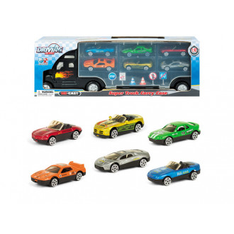 Մեքենա բեռնատար տռեկ մետաղե փոքր մեքենաների հավաքածույով