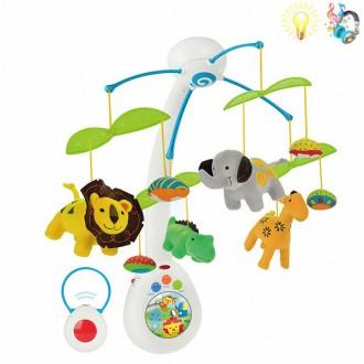 Օրորոցի խաղալիք երաժշտական, կենդանիներով + պրոյեկտր /Remote Control musical mobile Lights Music/