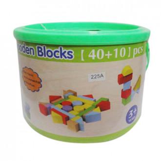 Լեգո դույլով, փայտե խորանարդիկներով 40+10, 50կտոր