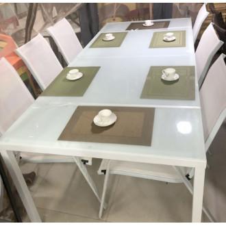 Պարտեզային սեղան իր ութ աթոռներով (2,20սմ*1մ.) մետաղյա հիմքով