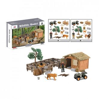 Խաղ հավաքածու 2ձև խրճիթ կենդանիներով, վայրի բնությnւն