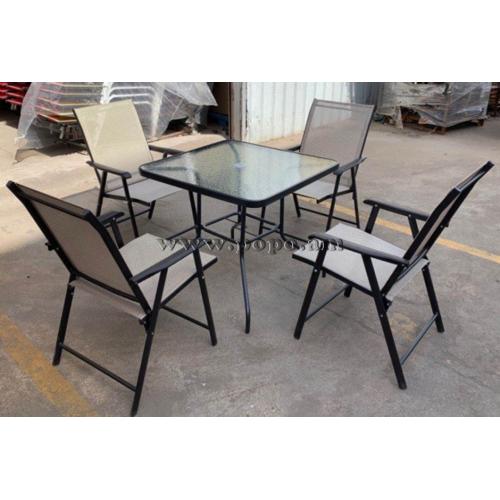 Պարտեզային սեղան իր չորս աթոռներով, մետաղյա, պոլիմերային գործվածքով