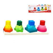 Փայտե խաղալիք բուրգ աշտարակ, ուսուցողական 4ձև կառուցվող