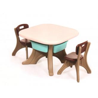 Մանկական սեղան + 2աթոռ պլ. քառանկյուն, դարակով