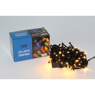 Լույս ամանոր 100 լամպ LED, սպիտակ դեղնավուն երանգ, սև լար 9 մետր